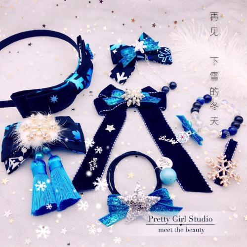 Winter Black Blue Gradual Change Snowflake Lolita Girl Hair Accessories Cute Bow Tassels Cosplay Hairpin Bracelet KC Head band