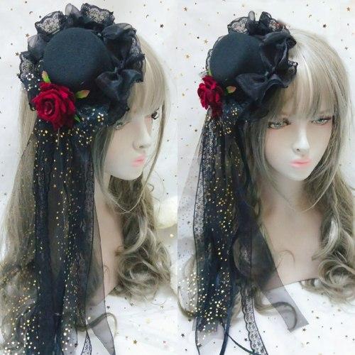 Hand Made Tradescantia Sillamontana Lolita Dark Gothic Rose Pill Hairpin Top Hat Side Clip Headdress Cross Hair Accessories