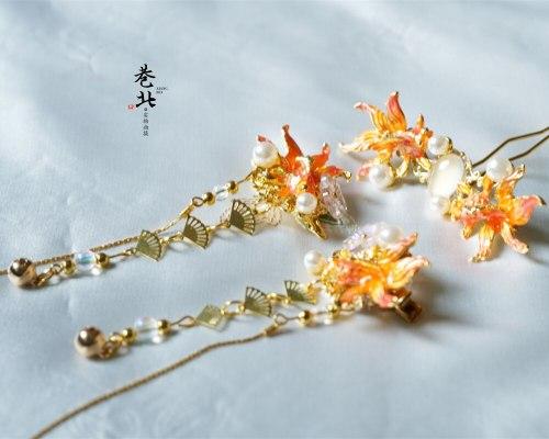 Headwear Women Kanzashi Classical Goldfish Tassels Hair Pin Hunfu Kimono Bathrobe Hair Clip Hair Accessories COSPLAY Ornament