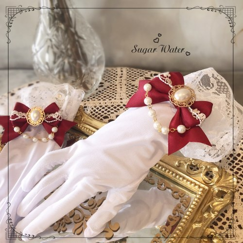 Handmade Retro Gothic Bride Wedding Gloves Tea Party Lolita Gorgeous Elegant Bride Bow Lace Trim HAND CUFF Gloves Princess