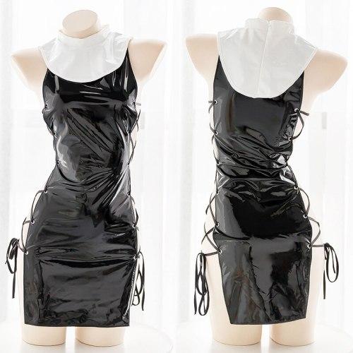 Black Sexy Nun Patent Leather Hollow Side Bandage Thin Dress Underwear Suit Women's Japanese Sexy Lolita Girl Dress 3Pcs Set