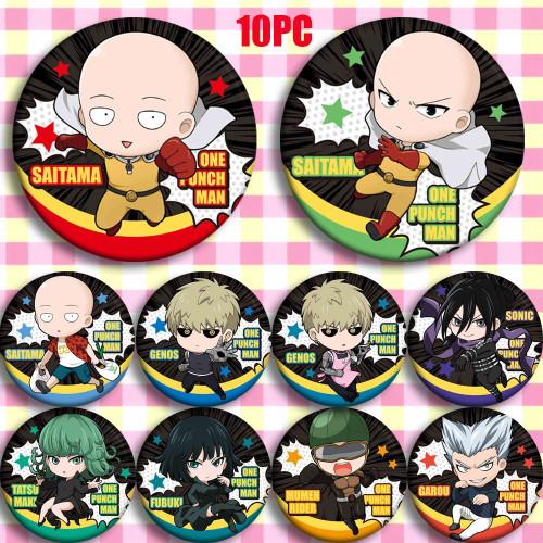 58MM Japan Anime ONE PUNCH-MAN Saitama Genos Tatsumaki Cosplay Bedge Cartoon Collect Backpack Bag Badge Button Brooch Pin Gift