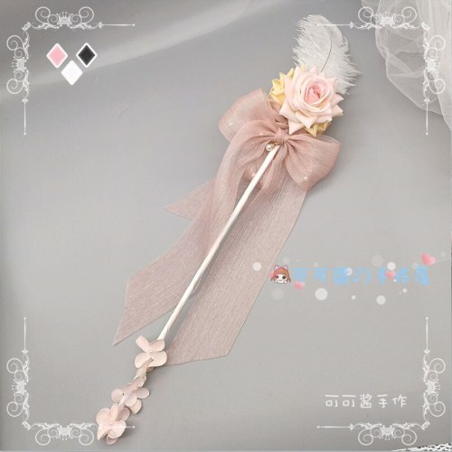 Gothic Handmade Lolita Tea Roses Sceptre Stick Hand Cane Shows Magic Wand of Fairy Wand Holding Stick Cosplay Performance