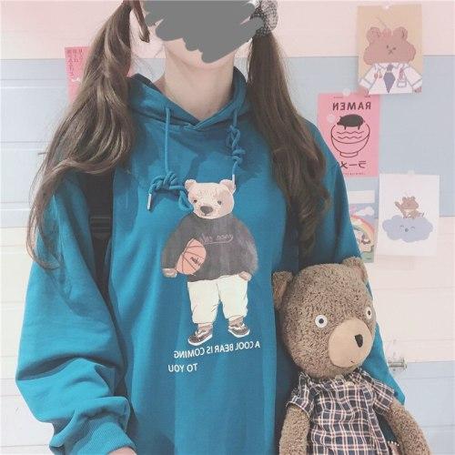 Mori Girl Cartoon Bear Sweatshirts Kawaii Girl Hooded Loose Tops