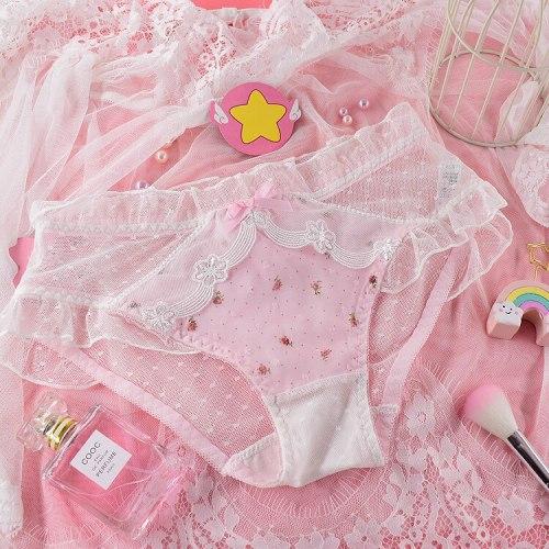 Summer Kawaii Hollow Underpants Small Fresh Lolita Girl Fairy Sweet Women's Flower Pattern Lace Bow Panties Briefs Underwear