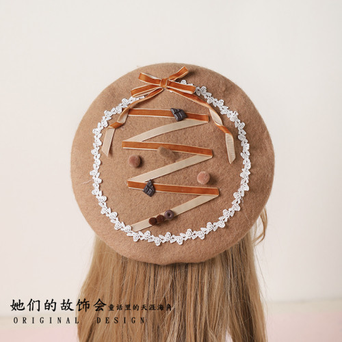 Chocolate Theme Beret Flat Cap Mori Girl Women's Kawaii Bear Ear Earmuffs Winter Sweet Lolita Gloves Warmer Retro Painter Hat
