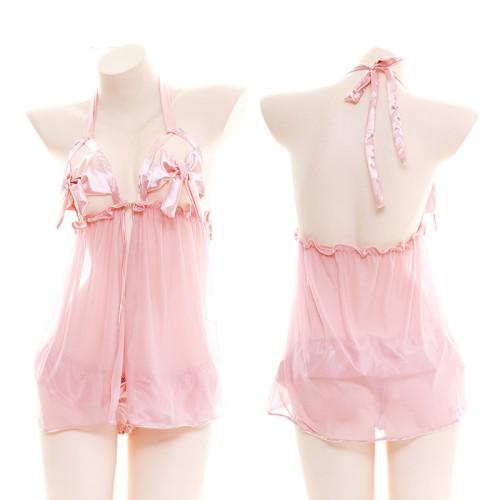 Pink Sexy Transparent Halter Bandge Nightdress Suspender DressPajama Suit