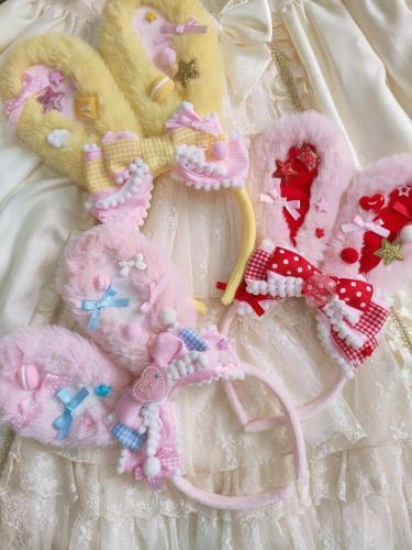 Super Cute Dessert Rabbit Ear KC Bow Plush Headband Cosplay Japanese Handwork Sweet Lolita Soft Girl Kawaii Maid Headwear