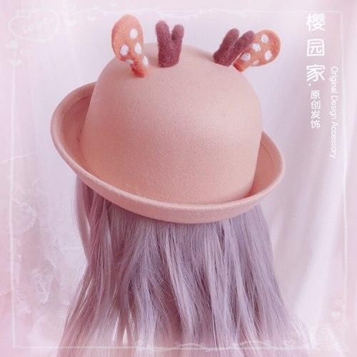 Handwork Lovely Sweet Girl Elk Horn Woollen Curling Top Hat Vintage Lolita Fashion Cap Bowler Hat Autumn Winter Wool hat
