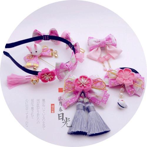 Japanese Tsumami zaiku Rabbit Sakura Gold Stamping Lolita Kimono Yukata Bathrobe Headwear Soft Girl Cosplay Classical Hair clip