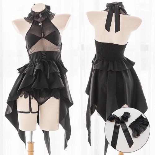 Fashion Elegant Black Swallow tail Bubble Dress Lingerie set