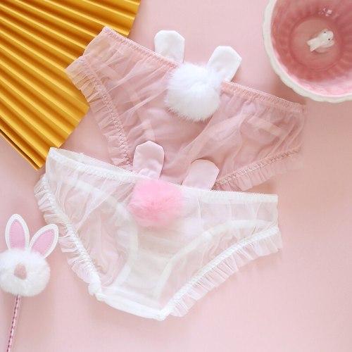 Summer Kawaii Mesh Furry Ball Rabbit Ear Panties Sexy Lolita Lovely Briefs Japanese Soft Girl Low Waist Transparent Underwear