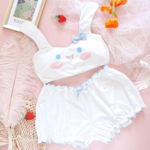 Set Japanese Soft Girl Wireless Bra & Brief Set Student Lingerie Suit