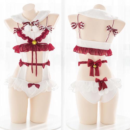 Sweet Lolita Fur collar Bowknot Ruffles Bell One-pieces Sexy Girl Underwear Suit