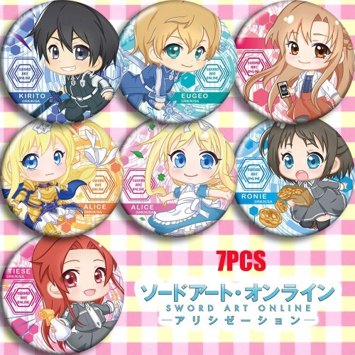 Japan Anime Sword Art Online Alicization SAO Cosplay Bedge Cartoon Collection Backpacks Bags Badges Button Clothes Brooch Pins