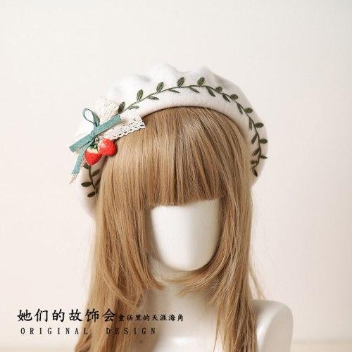 Cute Strawberry Green Leaves Beret Flat Cap Mori Girl Women Earmuffs Autumn Winter Sweet Lolita Gloves Warmer Retro Painter Hat