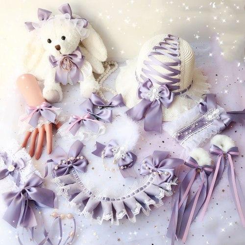 Purple Cat Love Letter Sweet Lolita Bow Lace Hair Pin Hair Band Headwear BNT / Bear bag / Side clip / Hand sleeve / KC Headband