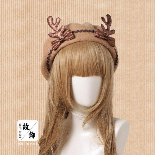 Women's Japanese Soft Girl Autumn Winter Christmas Beret Wool Painter Hat Lovely Lolita Bowknot Deer Antler Pancake Cap Gift