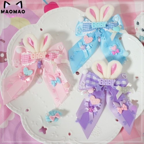 Sweet Dreamy Lolita Pink Blue Purple Kawaii Plush Rabbit Bow Hair pin Headwear Side clip Soft Girl Cute Hair Clip Headdress
