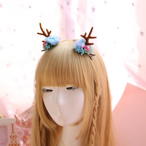 Kawaii Lolita Girl Japanese Antlers Flowers Design Headwear Christmas Party Women's Cute Side Clip Hair Accessories 3Colors