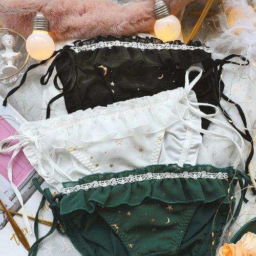 3Colors Summer Thin Milk Silk Briefs Female Lovely Star Moon Gold stamping Bandge Bow Ruffles Underwear Panties Teen girl