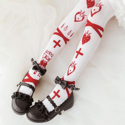 Spring Strawberry Emergency Room Lovely knitting Lolita Girl Thigh High Stockings Sweet Women's White Cosplay Knee High Socks