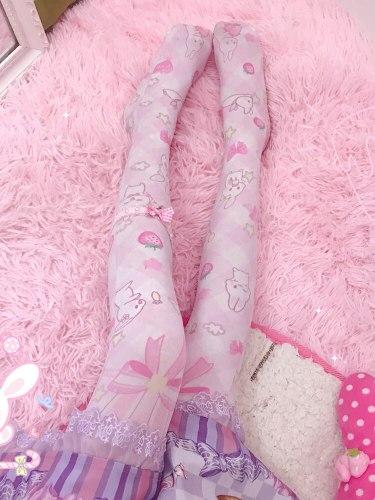 Harajuku Kawaii Lolita Anime Strawberry Rabbit Printing Overknee Socks Cosplay Student velvet Knee High Stocking Female Autumn
