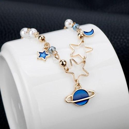 Galaxy Bracelet Starry Sky Gold Crystal Charm Bracelet