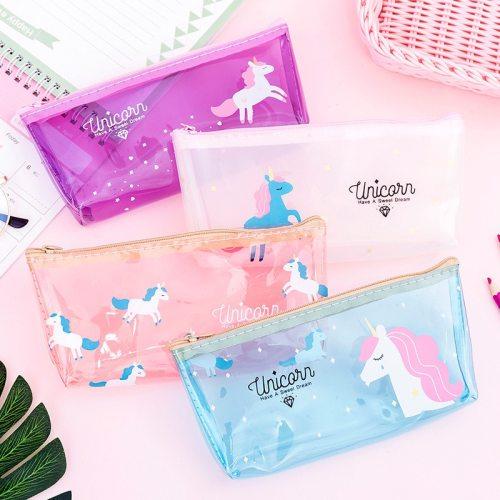 Unicorn Cosmetic Bags Silicone Transparent Organizer Pouch Cat Flamingo Makeup Pencil Bag
