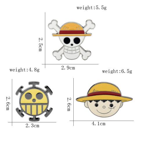 One Piece Anime Luffy Skull Metal Enamel  Brooches