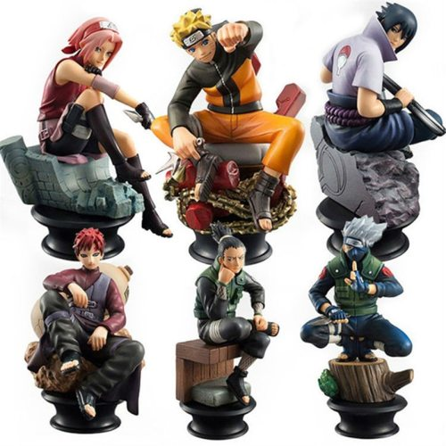 6PCS/Set Naruto Action Figures Dolls Chess New PVC Anime Naruto Sasuke Gaara Model