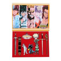10pcs/set My Hero Academia Cosplay Accessories Shoto Todoroki Midoriya Izuku Bakugou Katsuki Shadow Breastpin Sword Keychain