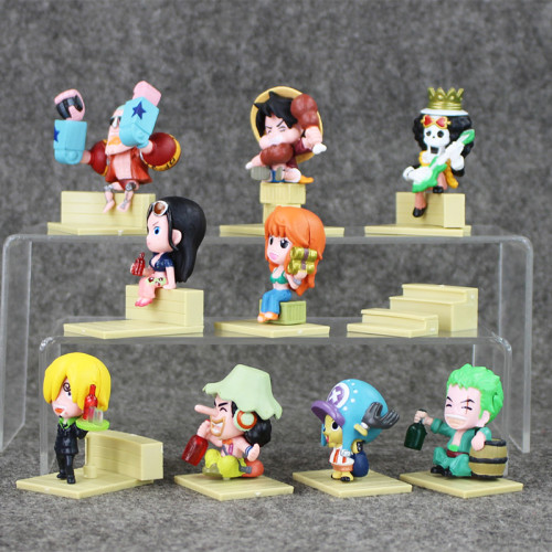 9Pcs/Lot One Piece PVC Figure Luffy Model Doll