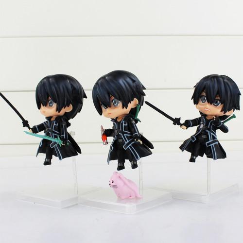 3Pcs/Lot Anime Sword Art Online Kirito Figure Toy Q Version Kirito With Weapon