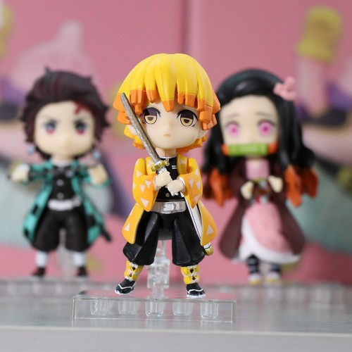 3Pcs/Set Q.ver Kimetsu no Yaiba Nezuko Tanjirou Zenitsu PVC 10CM Toys