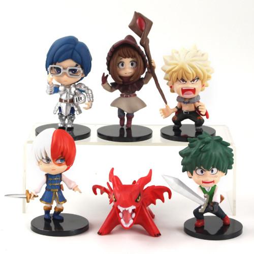 6Pcs My Hero Academia Figures Midoriya Izuku Todoroki Shoto Bakugo Katsuki Toys