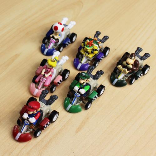 6Pcs/Lot Super Mario Pull Back Car Luigi Bowser Koopa Toys