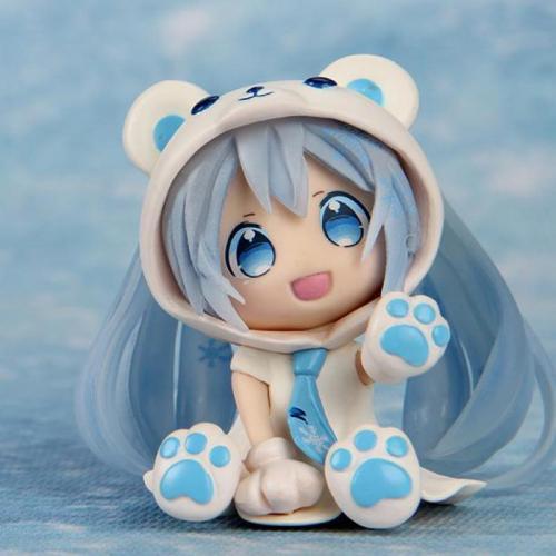 3PCS Q Version Snowman The Polar Bear Miku Anime Figures Action PVC