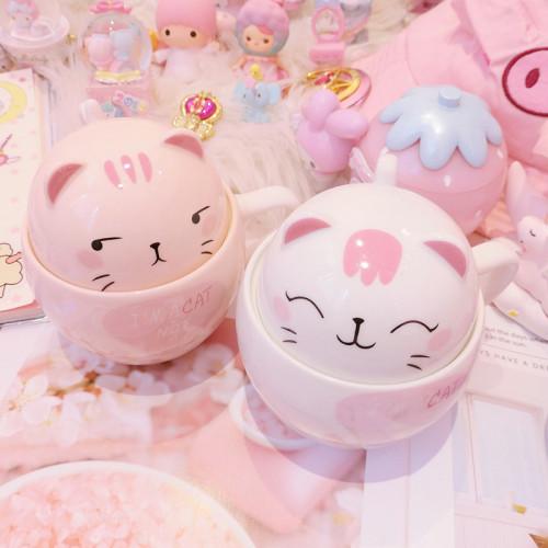 Cat Mug with Lid Water Ceramic Cup