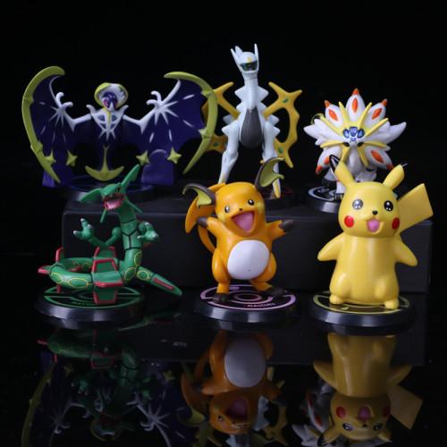 6PCS Pikachu Lunala Rayquaza Raichu Arceus Anime Action Figure PVC 10-12CM