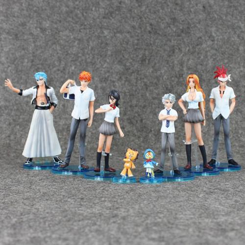 8PCS Anime Bleach Toys Kurosaki Ichigo Kuchiki Rukia Aizen Sousuke Hitsugaya PVC Action Figures