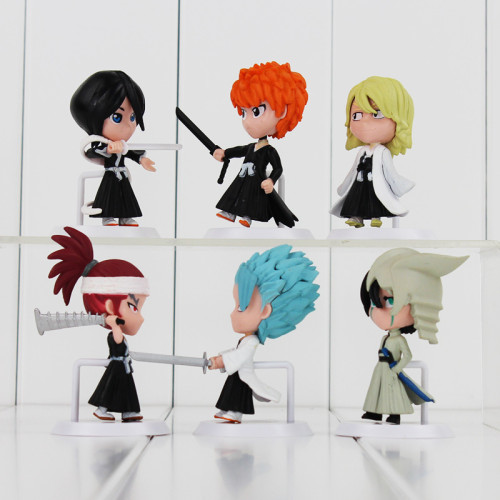 6Pcs/Set Anime Bleach Ichigo Ulquiorra cifer Renji Ichimaru Gin Toushirou PVC Action Figures