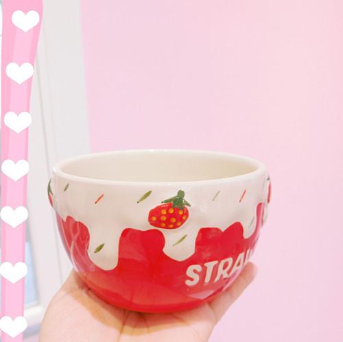 Strawberry Ceramic Salad Bowl Breakfast Bowl