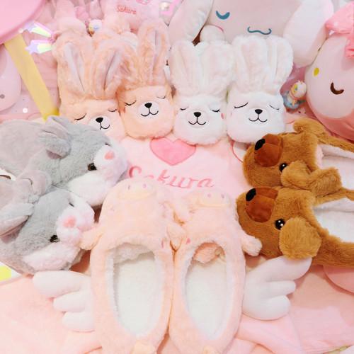 Hairy Non-slip Rabbit Warm Cotton Home Slippers