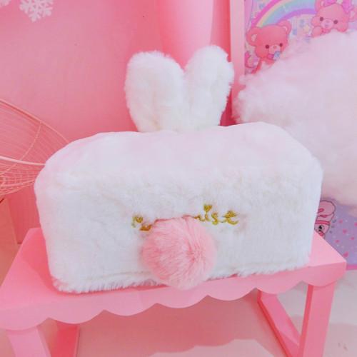 Plush Rabbit Ear Tissue Box