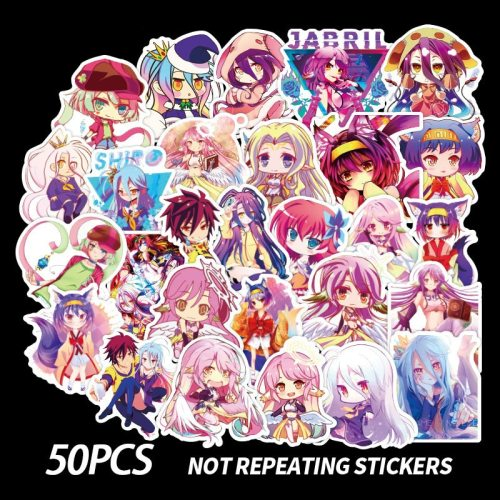 50PCS AC NO GAME NO LIFE Anime Crystal Sticker Waterproof Colorful Classic Fan Collect DIY Public Transit Stickers