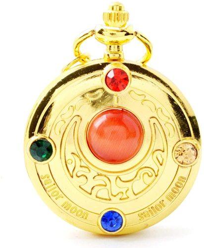 Rhinestone Golden Sailor Moon Black Dial Quartz Pocket Watch