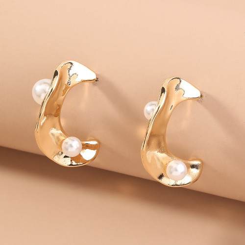 Baroque Pearl Metal Earrings