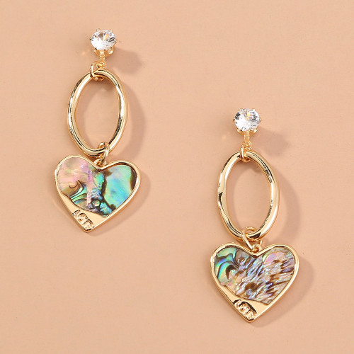 Natural Abalone Shell Peach Heart Earrings