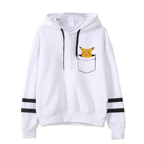 Pokemon Detectiv Pikachu Hoodie Female Funny Pika Kawaii Sweatshirt Woman Clothes Female Pullovers Cartoon Japanese Korean Men